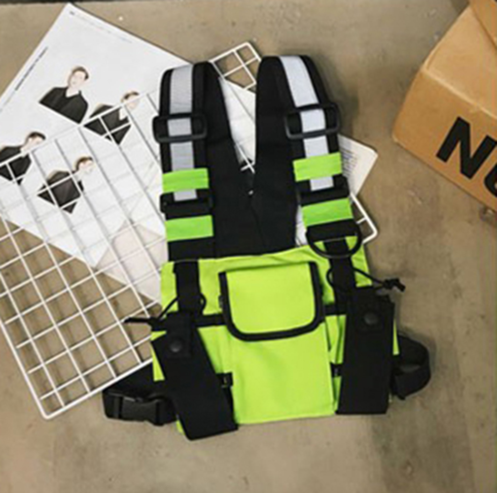 Women Chest Rig Bag Neon Green Functional Tactical Harness Pack Multi-pocket Vest Hip Hop Streetwear Adjustable Unisex Reflect