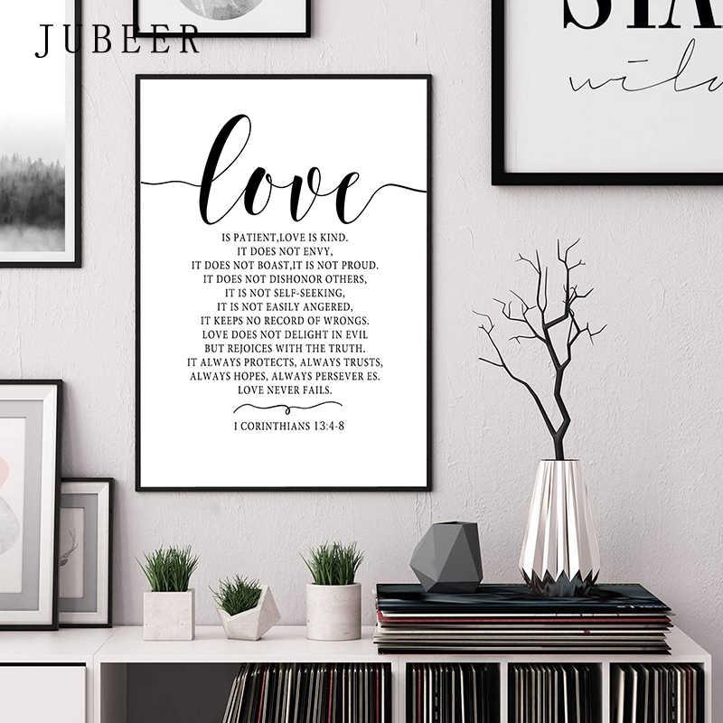 Stile scandinavo Amore Poster in Bianco e Nero della Tela di Canapa Pittura Amore Immagini A Parete Per Soggiorno Nordic Decorazione Della Casa di Arte