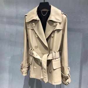 Image 1 - Genuine real leather jacket sheepskin short trench coat women 2019 new fashion double breasted england style windbreaker
