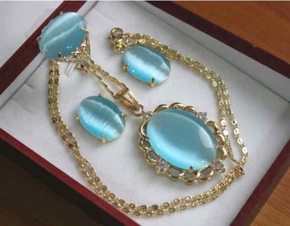 תכשיטי פרל סט סיטונאי נובל 13*18mm GP שמיים כחול אופל טבעת (#6,7, 8,9) עגילים & תליון תכשיטים להגדיר משלוח חינם