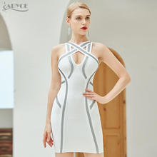 Adyce 2020 חדש קיץ אישה תחבושת שמלת Vestidos סקסי שחור לבן ללא שרוולים טנק Bodycon מועדון סלבריטאים מסלול מסיבת שמלות