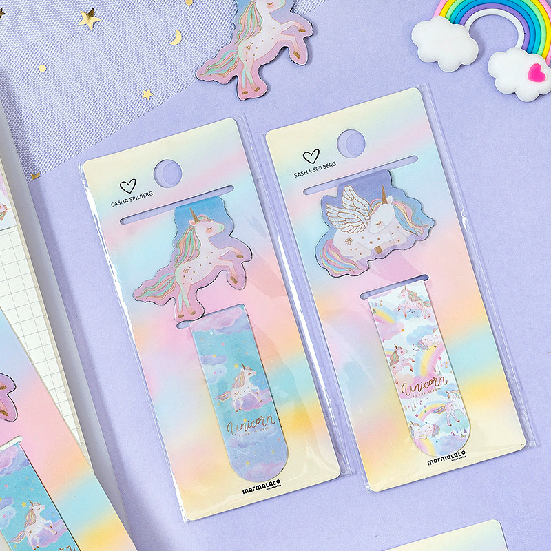 2 Pcs/pack Kawaii Magical Unicorn Magnet Bookmark Book Mark Paper Clip School Office Supply Escolar Papelaria Gift Stationery