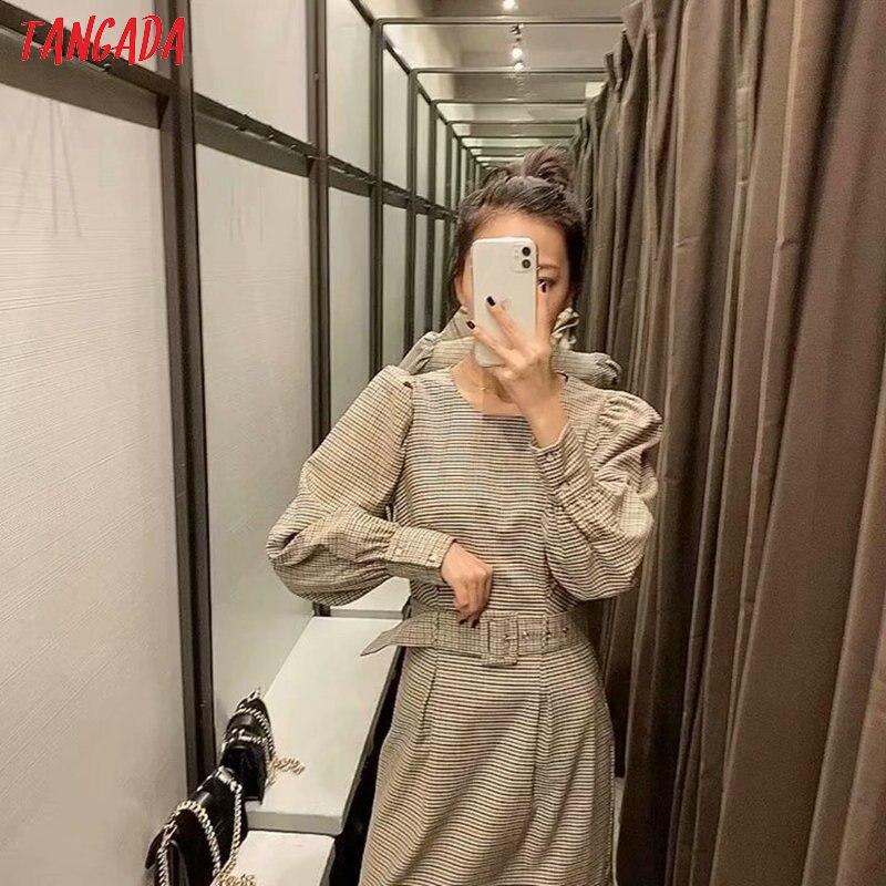 Tangada England fashion women plaid pattern dress with belt o neck Long Sleeve Ladies mini Dress Vestidos 6P17 1
