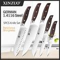 Набор кухонных ножей XINZUO из высокоуглеродистой Немецкой Нержавеющей Стали 1,4116, 5 шт., высококачественный ручной инструмент для нарезки крас...