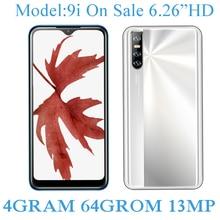 9i Face ID Android 13MP Smartphones Quad Core Original 4G RAM 64G ROM 2sim Mobile Phones Unlocked 6.26
