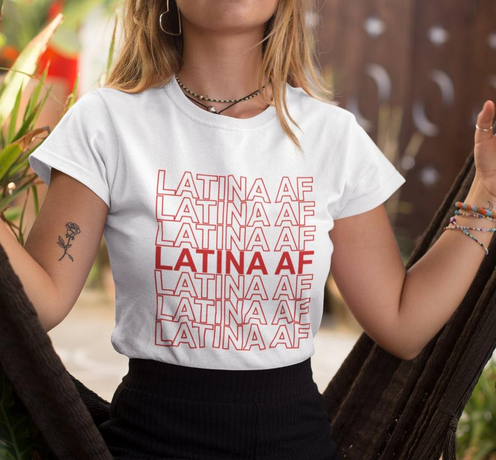 LATINA <font><b>AF</b></font> red letters Women <font><b>tshirt</b></font> Cotton Casual Funny t shirt Gift 90s Lady Yong Girl 6 Colors Drop Ship S-855 image