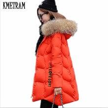 Kmeram Новая модная зимняя куртка с настоящим большим воротником из меха енота зимнее пальто Женская парка Теплая пуховая хлопковая верхняя одежда HH488