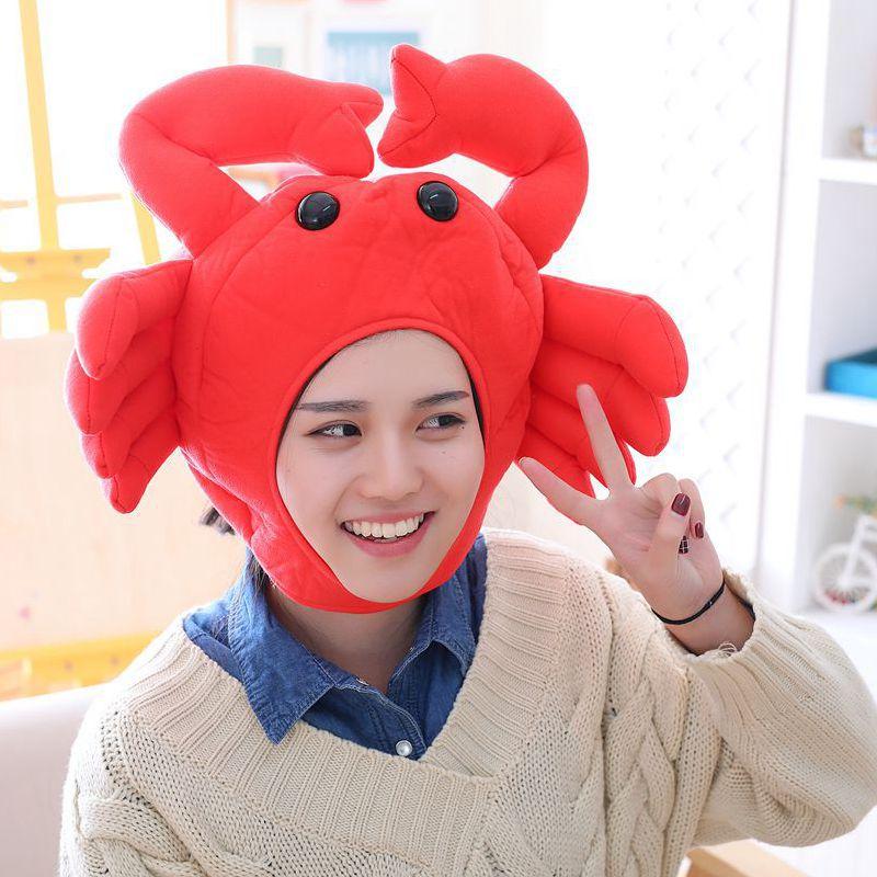 Кавайная забавная плюшевая шапка красного краба костюм на Хэллоуин