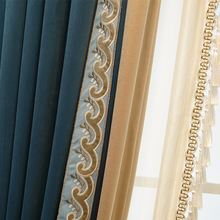 2021 New American Curtains for Living Room European Luxury Villa Bedroom Shading Flannel French Window Screen Velvet Fabric