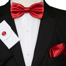 KAMBERFT Mens Bow Tie Set Red Yellow Solid Bowtie Pocket squ