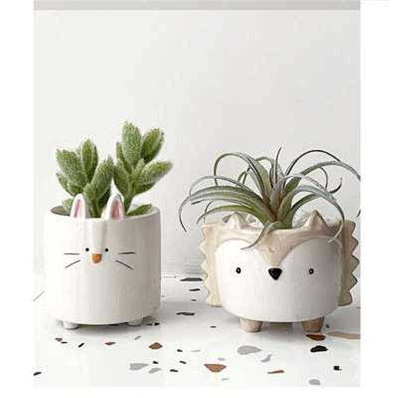 Ceramic Small Animal Flower Pot Cute Plant Pot Hedgehog Bunny Puppy Creative Mini Flower Pots Decorative Fp5 Flower Pots Planters Aliexpress