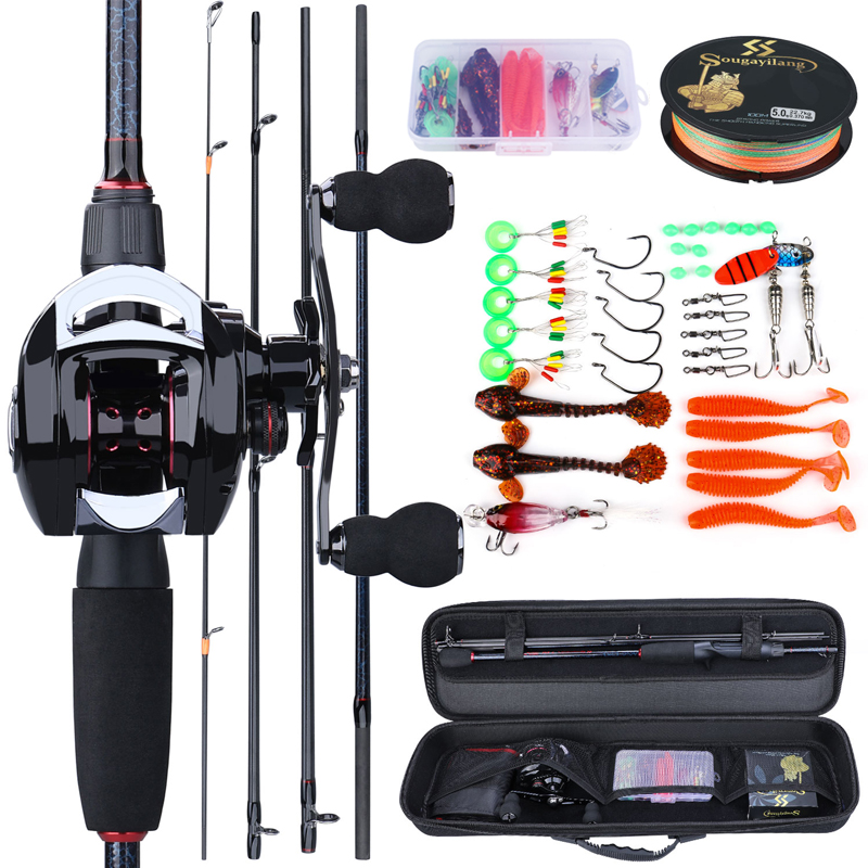 Sougayilang Portable Travel Fishing Combo 1.8-2.4m Casting Fishing Rod And 18+1bb Reel Combo Fishing Line Lures Bag Accessories