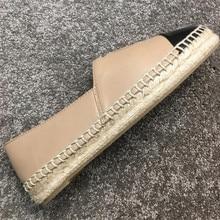 Klassische Top Qualität Luxus Marke Design Ziege Leder Frau Espadrilles Slip Auf Loafers Bequeme Flache Fischer Schuhe
