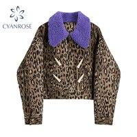 Giacca da donna Crop Streetwear cappotto invernale in pelliccia di lana viola con giunture leopardate cappotto invernale femminile Vintage Club doppio petto Outwear