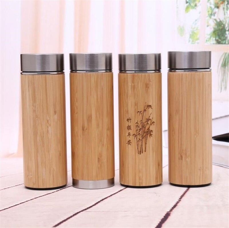 Taza de bambú botella de agua de acero inoxidable con aislamiento al vacío taza de vacío de viaje de café con colador de té botella de madera de 450ML-in Termos y botellas al vacío from Hogar y Mascotas    1