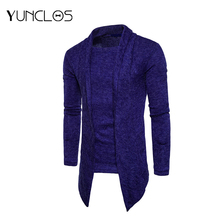 YUNCLOS 2019 Blue Fake 2 Piece Thick Cardigan Sweater Men Slim Fit Jumpers Knitwear Warm Korean Style Casual Sweater Coat Men new fashion brand sweater for mens cardigan slim fit jumpers knitwear warm autumn korean style casual clothing men