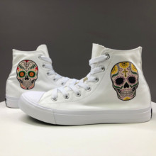 Wen Design Colorful Mexican Style Skull Tattoo White Black Men Canvas Shoes High Top Lace Up Women Casual Sneakers Choices