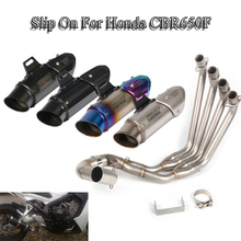 CBR650F Exhaust Front Link Header Pipe Motorcycle 51mm With Muffler Tip Steel Tail Slip On For Honda Escape