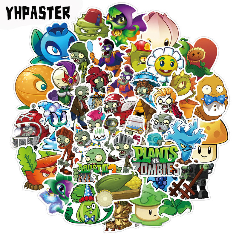 50pcs/pack Plants Vs. Zombies Stickers Game Graffiti Stickers For Laptop Luggage Motorcycle Phone Skateboard Pegatinas