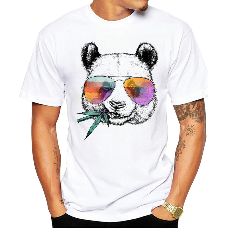 2020 NEW Men's Fashion Cool Panda With Sunglasses Printed T-Shirt Short Sleeve Novelty Design Tops Cool Tee Harajuku T Shirt Men