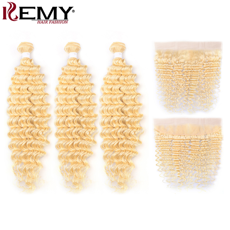613 Honey Blonde Human Hair Bundles With Frontal 13x4 Deep Wave Brazilian Hair Weave Bundles With Closure Remy Hair 3PCS KEMY image