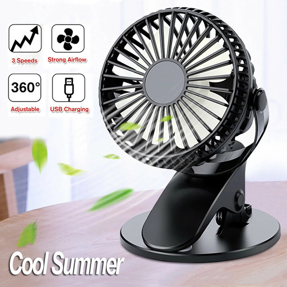 Portable Cooling Mini USB Fan 3 Speeds Adjustable 360 Degree Rotation Air Fan Desktop Clip Cooler Fan With 2600mAh Battery