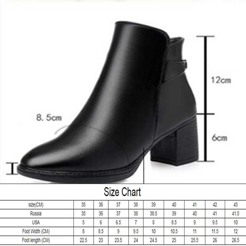 AIYUQI kış kadın yarım çizmeler yuvarlak ayak büyük boy 41 42 kadın patik hakiki deri sıcak yün çizmeler kadın ayakkabıları