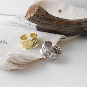 Image 2 - 925 Anillos de Plata esterlina Irregular ajustable Para Mujer, anillo de Corea hecho a mano, Anillos de Plata 925 Para bisutería Para Mujer, joyería 2019