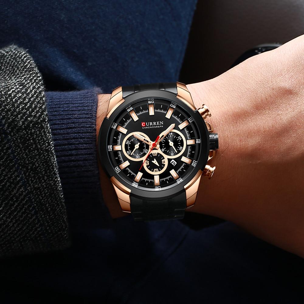 Image 3 - Luxury Sport Quartz Watch Men CURREN Stainless Steel Strap Military Watch Waterproof Gifts For Men Business Relogio MasculinoQuartz Watches   -