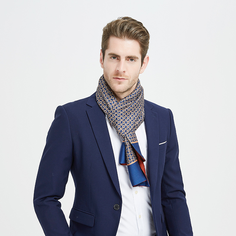 Winful Men 2020 Luxury Silk Feeling Scarf Men's Autumn Winter Vintage Print Scarf Business Male Casual Scarves High Quality