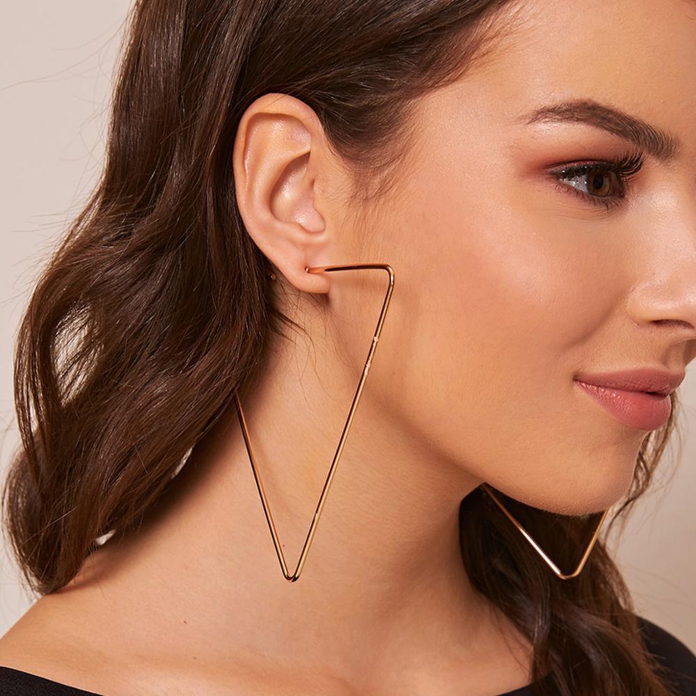 IngeSight.Z Vintage Exaggerated Geometric Triangle Hoop Earrings Statement Gold Color Metal Big Loop Earrings for Women Jewelry