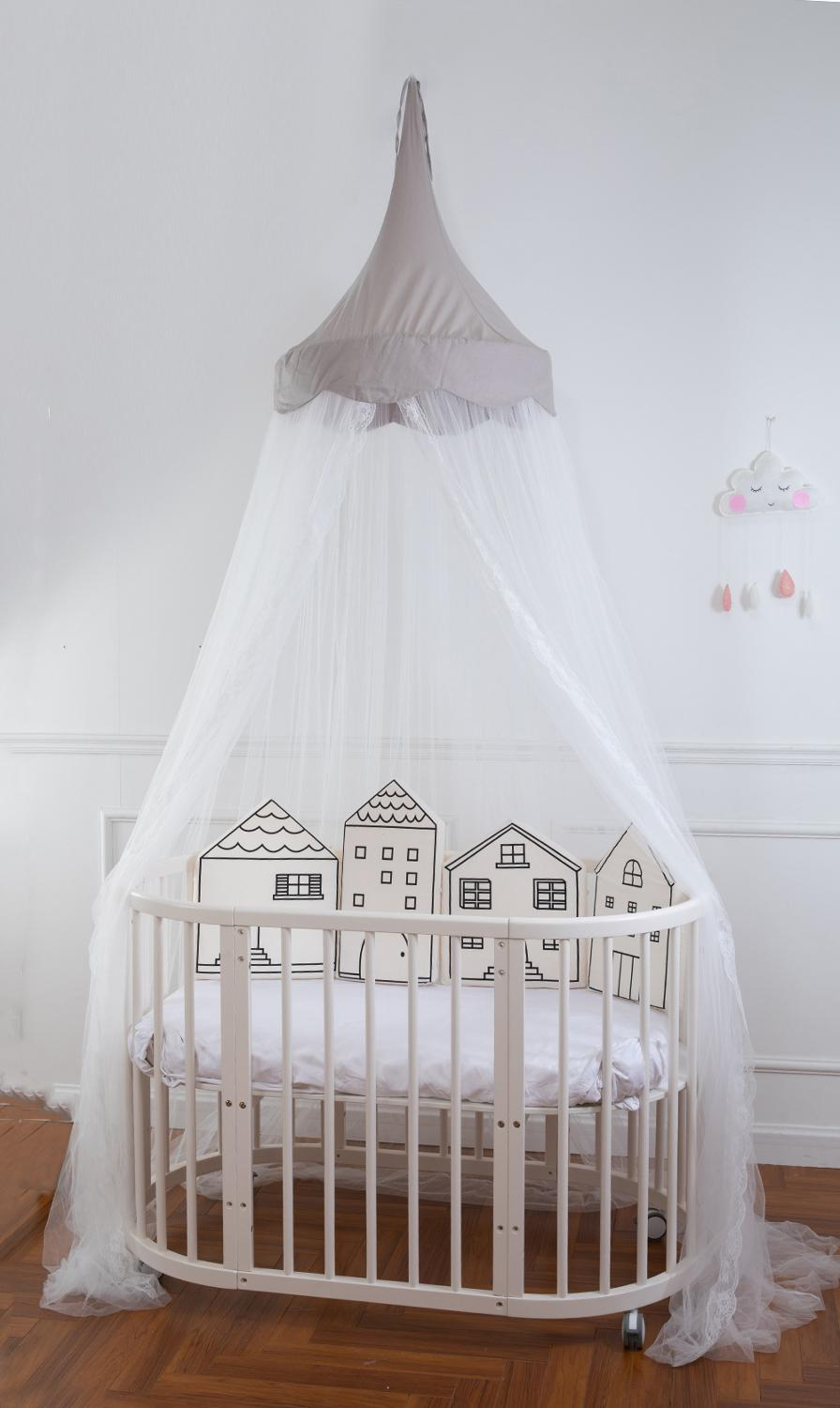 - Baby Double Color Lace Bed Canopy Mosquito Net Bed Crib Netting