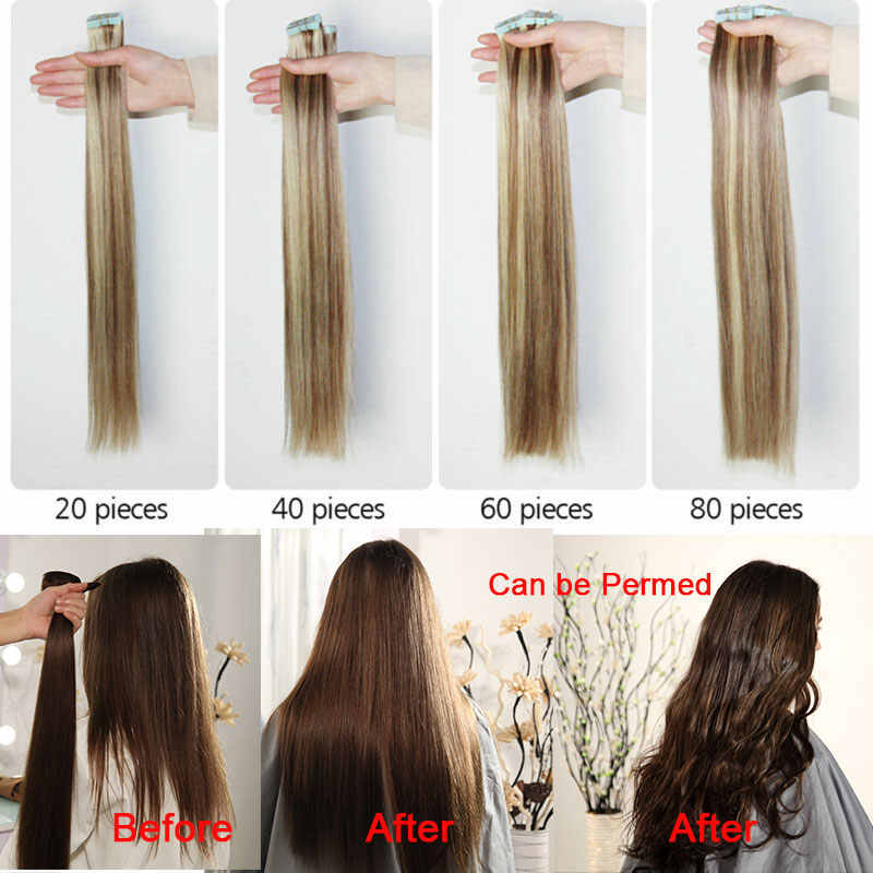 "SEGO12""-24"" 2.5g/pc 20/40Pcs Skin Weft Human Hair Straight Tape In Human Hair Extension Non-Remy Hair Double Sided Tape in Hair"