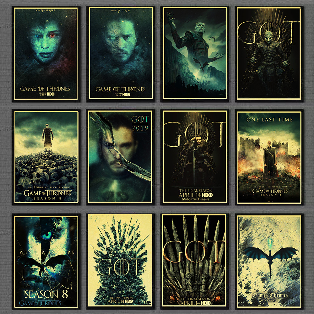 American Popular Movies Game of Thrones season 8 Poster and prints wall art painting for home room decoration wall Painting image