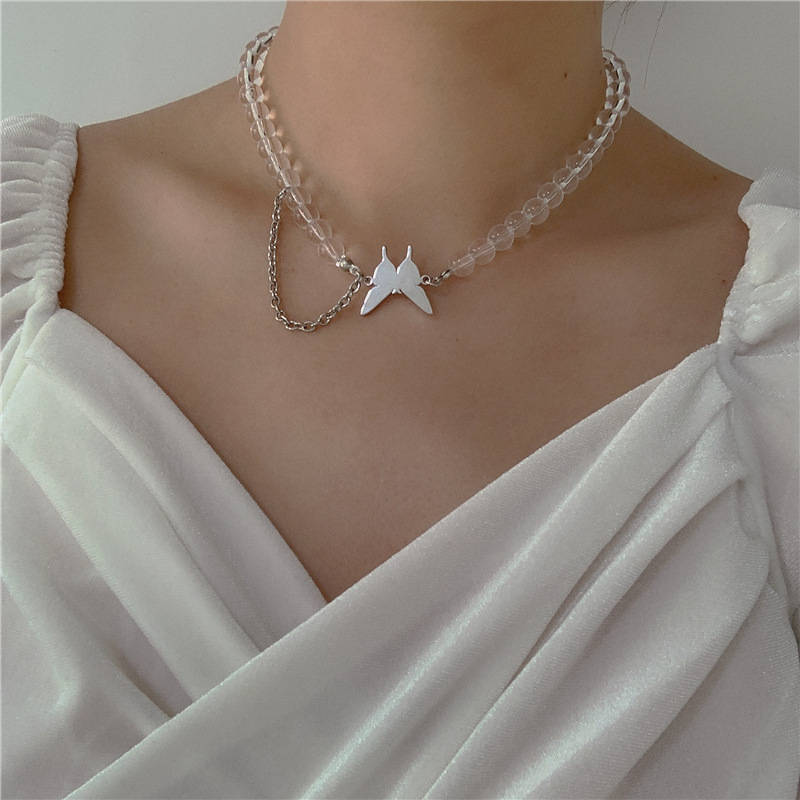 020 Ladies New Butterfly Ytem Punk Style Tassel Temperament Simple Asymmetric Necklace Necklace Jewelry Wholesale