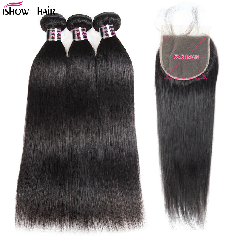 Ishow Brazilian Straight Hair Bundles With Closure 5X5 Closure With 3 Bundles Hair 100% Human Hair Bundles With Closure Non Remy