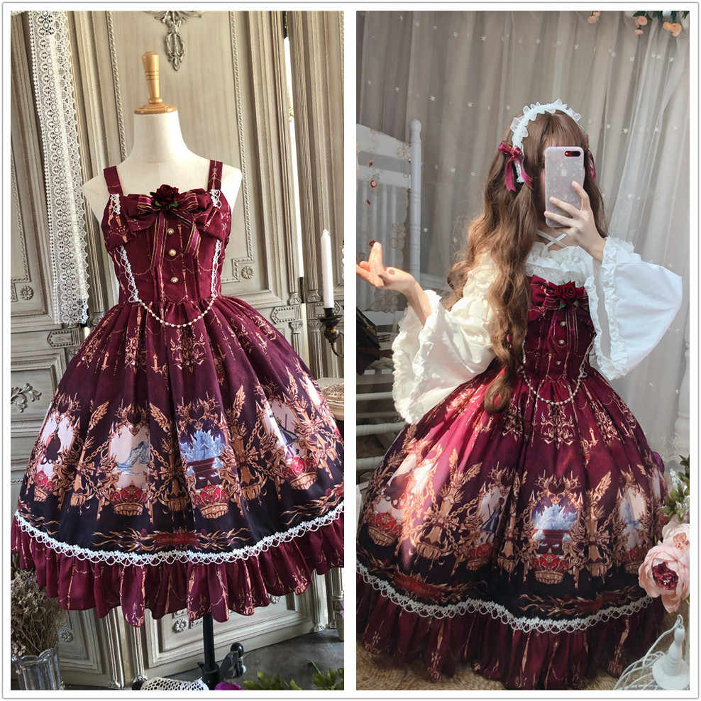 Gothic vintage sweet lolita dress palace lace bowknot cute printing princess victorian dress kawaii girl gothic lolita jsk cos