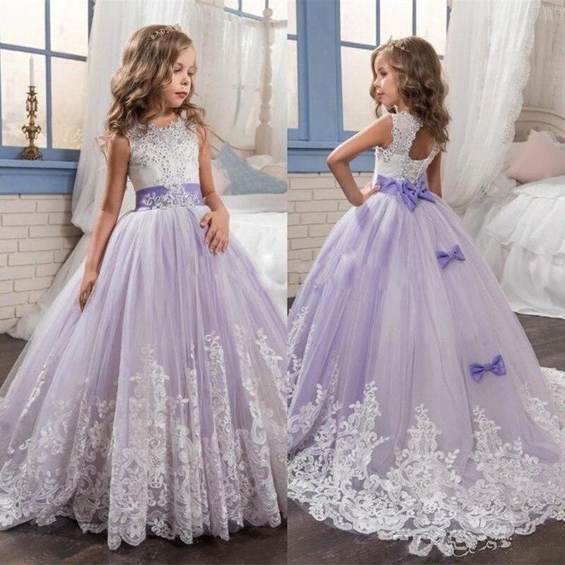 Belles robes de filles de fleurs violettes et blanches perlées dentelle appliques arcs robes de reconstitution historique pour enfants robes de fête de mariage pour fille