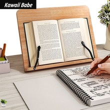 Portable Adjustable Book Holder Tray and Page Paper Clips-Cookbook Reading Desk Study Bookstand Textbooks Bookstand Wood