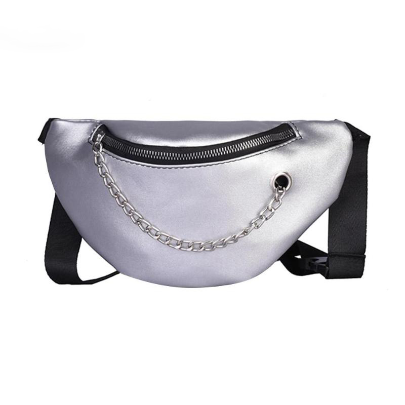 Women Waist Bags Fanny Pack Glitter Belt Chest Bag Small Shoulder Bag Lady Belly Belt Bags Waist Pack Purse(Silver)