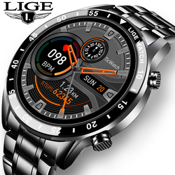 LIGE 2020 New Luxury brand mens watches Steel band Fitness watch Heart rate blood pressure Activity tracker Smart Watch For Men