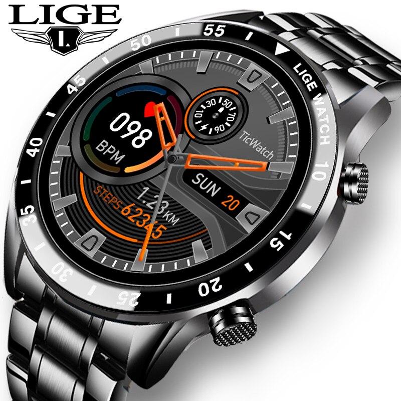 Lige 2020 nova marca de luxo dos homens relógios banda aço relógio fitness freqüência cardíaca pressão arterial atividade rastreador relógio inteligente para homem