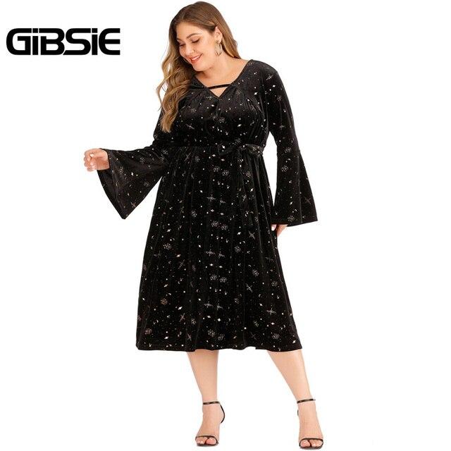 GIBSIE Autumn winter V-neck Print Velvet Dress Women Plus Size High Waist Long Sleeve Belt Midi Dresses Ladies Vintage Black 5