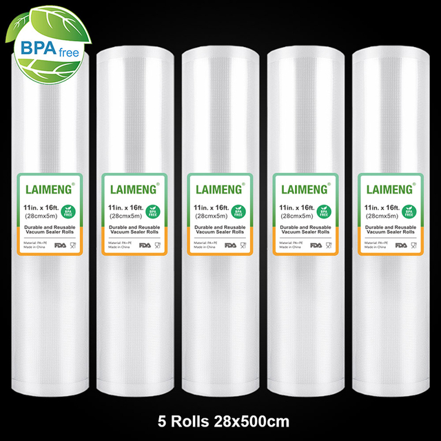 LAIMENG 5 لفات/مجموعة 28 سنتيمتر * 500 سنتيمتر الغذاء أكياس مكنسة ل فراغ باكر أكياس مانعة لتسرّب الهواء أكياس التخزين ل فراغ التعبئة R117