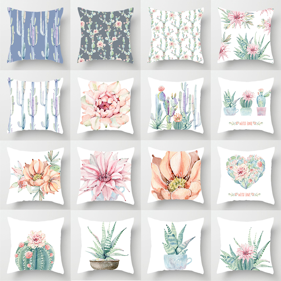 Watercolour Painting Decorative Throw Pillow Case Cactus Flower Green Succulent Plants Cushion Covers Party Home Farmhouse Decor
