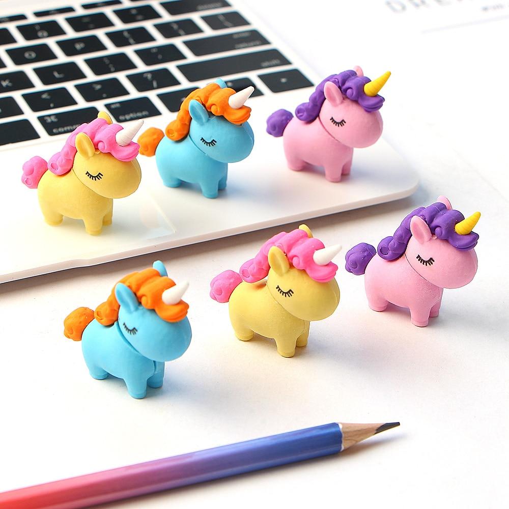 3Pcs/lot Kawaii Fat Unicorn Eraser  Modified Eraser Cute Cartoon Creative Detachable Pencil Office Children's Toys Gifts
