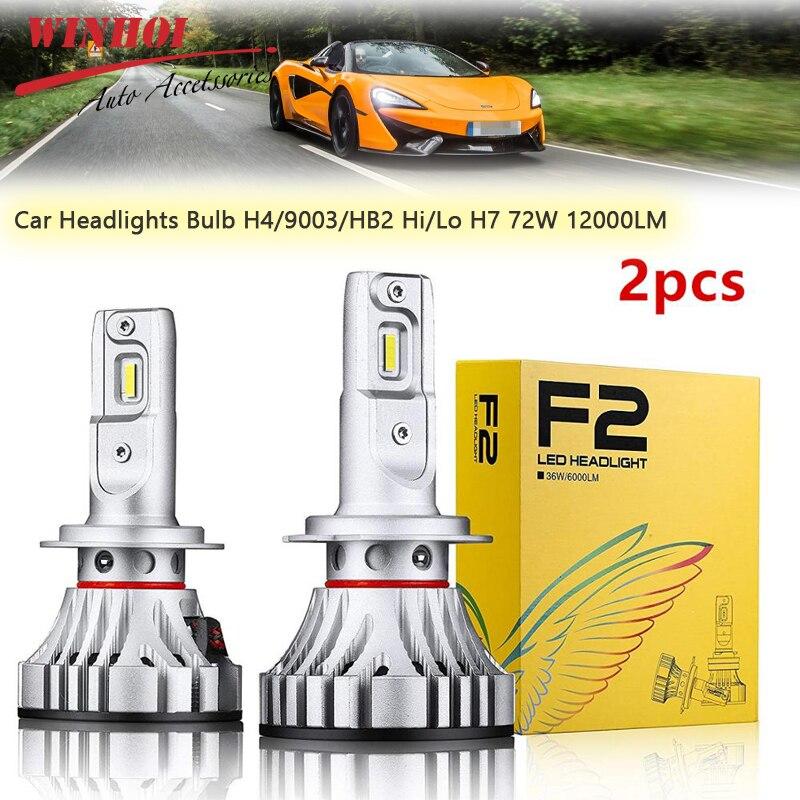 2Pcs F2 Car Headlight Led H4/9003/HB2 Hi/Lo H7 72W 12000LM Universal LED Headlight Bulb Waterproof Head Light Bulbs Lamp
