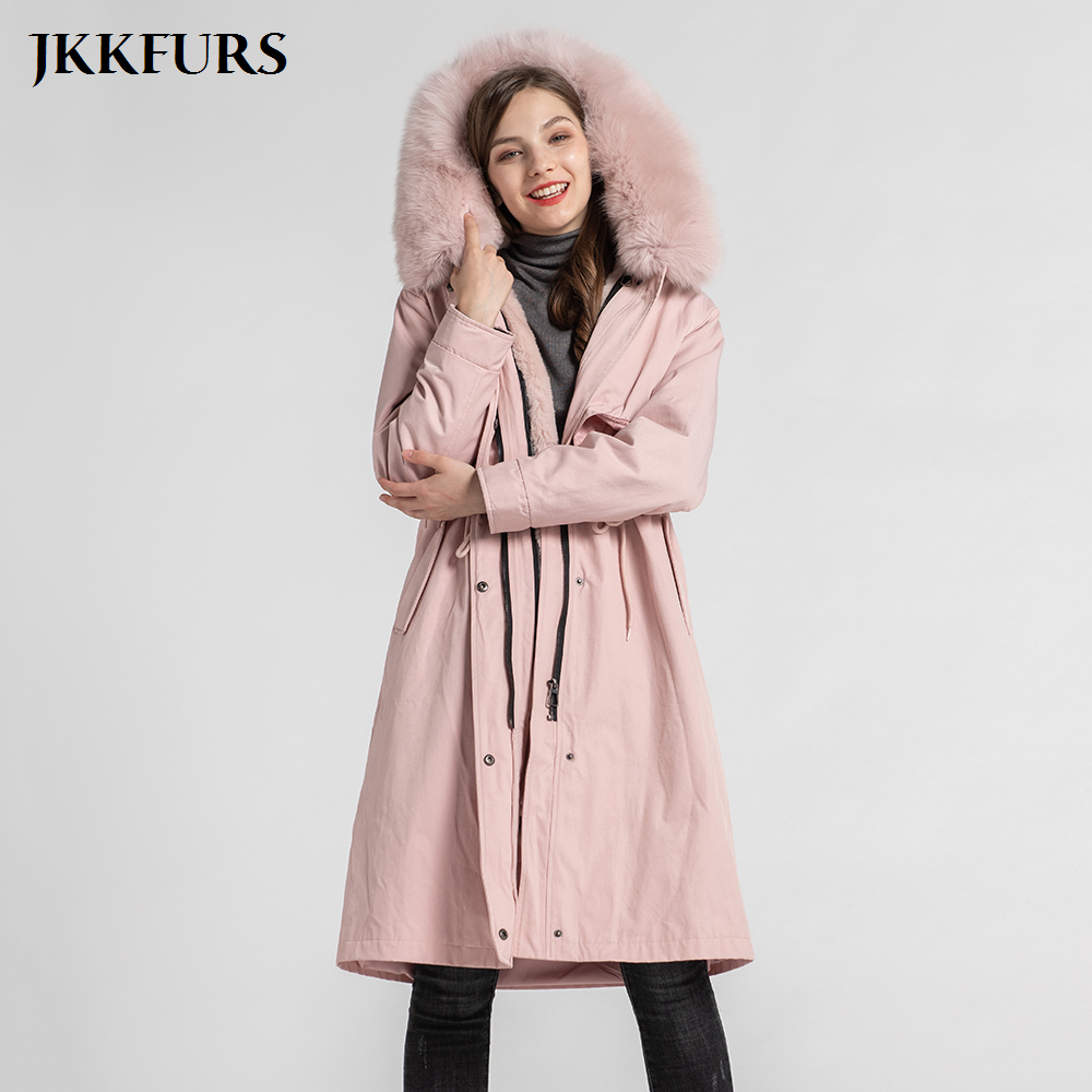 2020 New Arrival Parka Women's Real Fur Coat With Natural Fox Fur Collar Real Rabbit Lining Outwear Winter Warm S7576 image