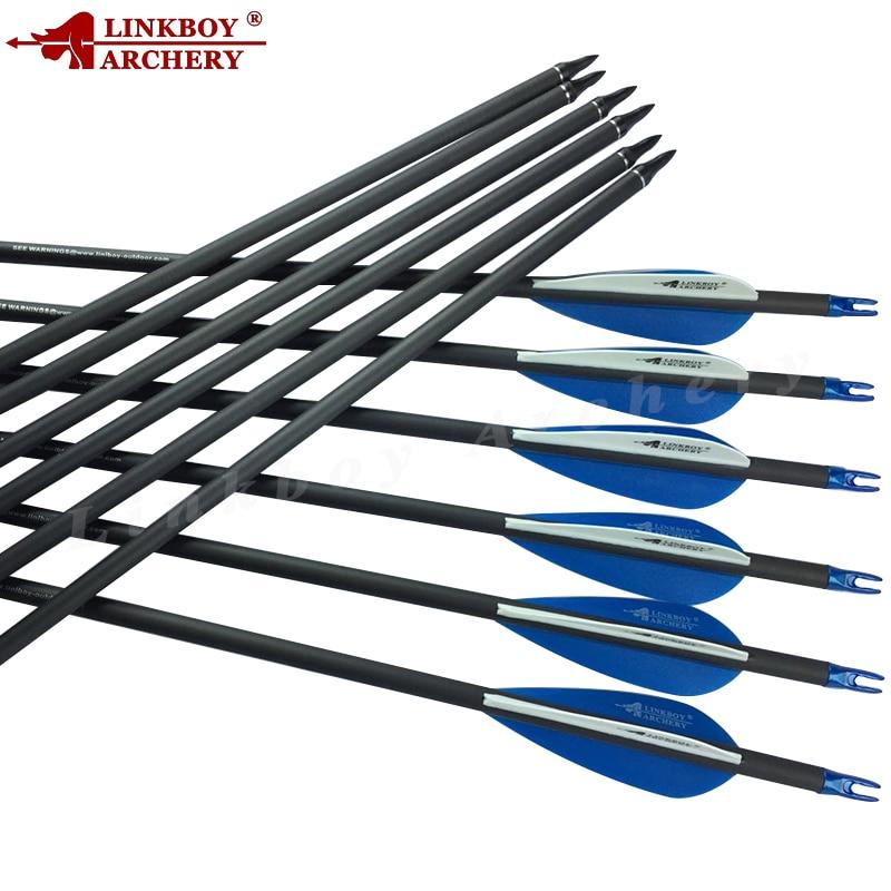 32/'/' 6//12//24Pcs Carbon Arrows Archery SP500 For Compound Recurve Bow Hunting