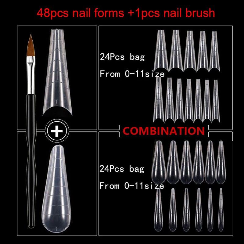 48 шт. Типсы для ногтей и кисть для ногтей двойные формы для быстрого наращивания ногтей полиуф-Гель форма для наращивания верхние формы для ...